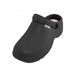 24 Units of Men's Sport Close Toe Rubber Nursing Clogs Black - Men's Slippers