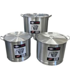 3 Piece Aluminum Pot With Steamer - Stainless Steel Cookware