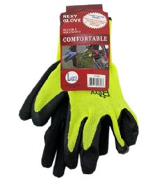72 Wholesale Green Poly Glove With Black Latex Coated Large
