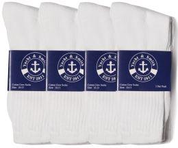 48 Bulk Yacht & Smith Mens Cotton White Crew Socks, Sock Size 10-13