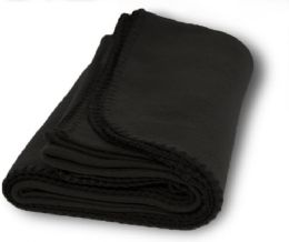 12 Bulk Yacht & Smith 60x90 Fleece Blanket, Soft Warm Compact Travel Blanket, Black