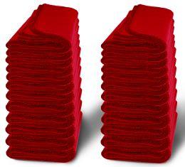 24 Bulk Yacht & Smith 60x90 Fleece Blanket, Soft Warm Compact Travel Blanket, Red