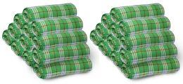 12 Bulk Bulk Soft Fleece Blankets 50 X 60, Cozy Warm Throw Blanket Sofa Travel Outdoor, Wholesale (50 X 60, 12 Green Plaid)