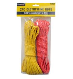 96 Units of 2 Piece Clothesline Rope 15m + 15m - Laundry  Supplies