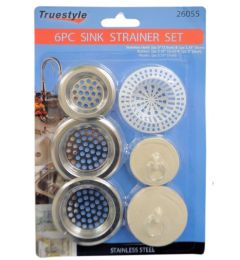 72 Units of 6 Piece Strainer Set Rubber And Assorted - Plumbing Supplies