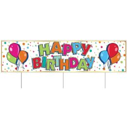 6 Wholesale Plastic Jumbo Happy Birthday Yard Sign TrI-Fold Design; 3 Metal Stakes Included; Assembly Required