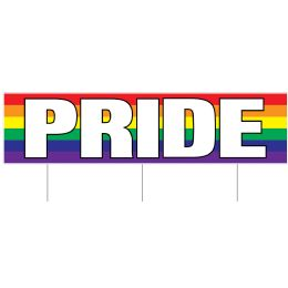6 Wholesale Plastic Jumbo Pride Yard Sign TrI-Fold Design; 3 Metal Stakes Included; Assembly Required