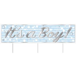 6 Wholesale Plastic Jumbo It's A Boy! Yard Sign TrI-Fold Design; 3 Metal Stakes Included; Assembly Required