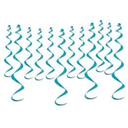 6 Wholesale Metallic Whirls Turquoise