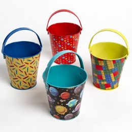 24 Units of Pencil Cup Tin Pail 4ast School Prints 4.25in H - School Supplies