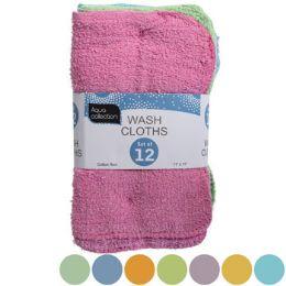 48 Units of Wash Cloths 12pk 11x11 Random - Cleaning Supplies