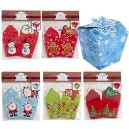 36 Units of Treat Box 6pk Christmas 3x3in Paper 6ast Designs/xmas Pbh - Christmas
