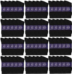 120 Bulk Yacht & Smith Mens Lightweight Cotton Crew Socks In Bulk, Black Size 10-13