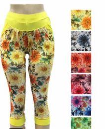 48 Units of Women Leggings Capri Length Flower Print - Womens Capri Pants
