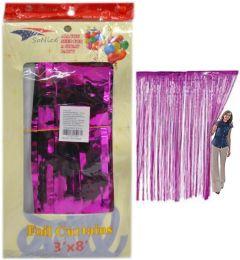 36 of Hot Pink Metallic Foil Curtain