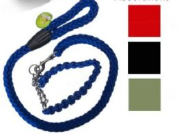 24 Wholesale Braided Leash Collar Set