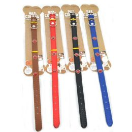 96 Units of Dog Collar Solid 13.5 Inch Assorted Color - Pet Collars and Leashes