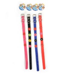 72 Units of Dog Collar Solid 17.75 Inch Assorted Color - Pet Collars and Leashes