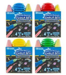 24 Wholesale Sidewalk Chalk 4ct With Chalk Holder