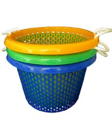 10 Units of 21x14 Inch Round Basket With Rope Handle - Laundry Baskets & Hampers