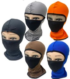 48 Units of Sun Full Face Mask Solid Assorted Colors - Unisex Ski Masks