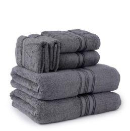 6 Units of Six Pieces Towel Set Grey Ring Spun Cotton - Towels
