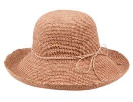 12 Wholesale Raffia Roll Up Brim Sun Cloche Hats In Indi Pink