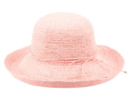12 Wholesale Raffia Roll Up Brim Sun Cloche Hats In Light Pink
