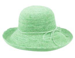 12 Wholesale Raffia Roll Up Brim Sun Cloche Hats In Mint