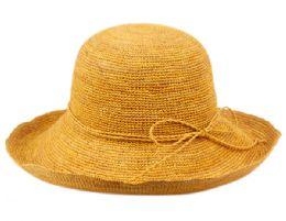 12 Wholesale Raffia Roll Up Brim Sun Cloche Hats In Toast