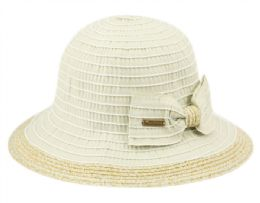 12 Wholesale Vintage Style Packable Sun Bucket Hats With Ribbon Bow Tie In Assorted Colors