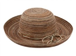 12 Wholesale Roll Up Brim Sun Bucket Hats In Assorted Colors