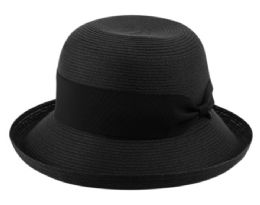 12 Wholesale Solid Roll Up Brim Sun Bucket Hats In Black