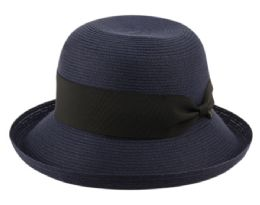 12 Wholesale Solid Roll Up Brim Sun Bucket Hats In Navy