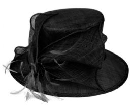 12 Wholesale Sinamay Fascinator With Flower & Feather Trim In Black