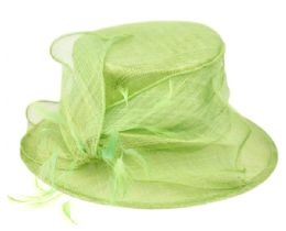 12 Wholesale Sinamay Fascinator With Flower & Feather Trim In Green