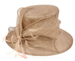 12 Wholesale Sinamay Fascinator With Flower & Feather Trim In Khaki
