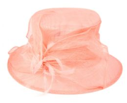 12 Wholesale Sinamay Fascinator With Flower & Feather Trim In Pink