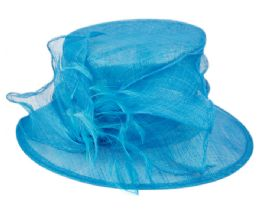 12 Wholesale Sinamay Fascinator With Flower & Feather Trim In Turquoise