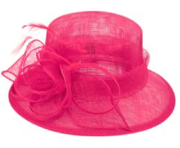 12 Wholesale Sinamay Fascinator With Flower & Feather Trim In Hot Pink