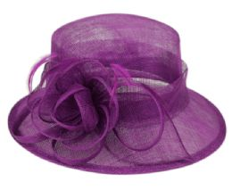 12 Wholesale Sinamay Fascinator With Flower & Feather Trim In Lavender
