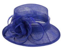 12 Wholesale Sinamay Fascinator With Flower & Feather Trim In Royal