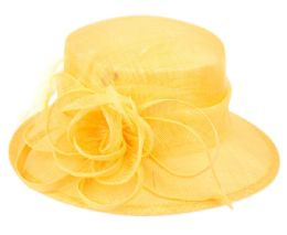 12 Wholesale Sinamay Fascinator With Flower & Feather Trim In Yellow