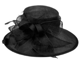 12 Wholesale Sinamay Fascinator With Ribbon Flower & Feather Trim In Black