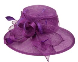 12 Wholesale Sinamay Fascinator With Ribbon Flower & Feather Trim In Lavender