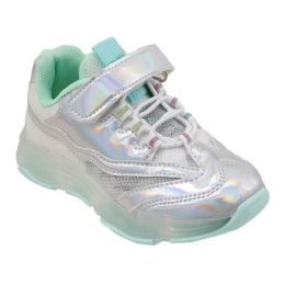 12 Units of Girls Sneaker in Silver and Mint - Girls Sneakers