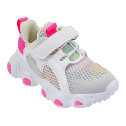 12 Units of Girls Sneakers Casual Sports Shoes In White And Pink - Girls Sneakers