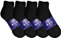24 Bulk Yacht & Smith Mens Cotton Black Sport Ankle Socks, Sock Size 10-13