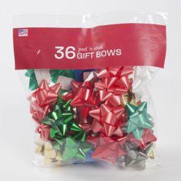 48 Wholesale Bows Christmas 36 Peel N Stick
