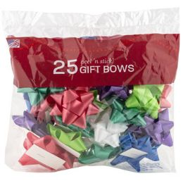 48 Wholesale Bows Christmas 25 Peel N Stick